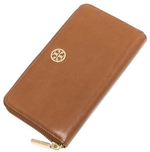 Tory Burch NWT DENA ZIP CONTINENTAL LEATHER WALLET LUGGAGE BROWN