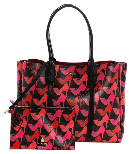 Preload https://item1.tradesy.com/images/lanvin-shoe-print-shopper-pink-black-leather-tote-19111870-0-1.jpg?width=440&height=440