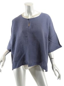 Eskandar Linen Key Hole Top Blue