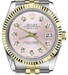Rolex Men`s Rolex 36mm Datejust2Tone Metallic Pink Diamond Dial