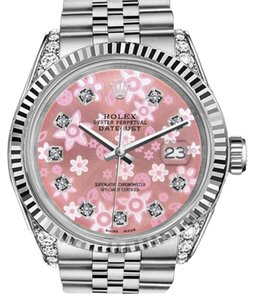 Rolex Woman's 26mm Datejust Glossy Pink Flower Dial Diamond Accent