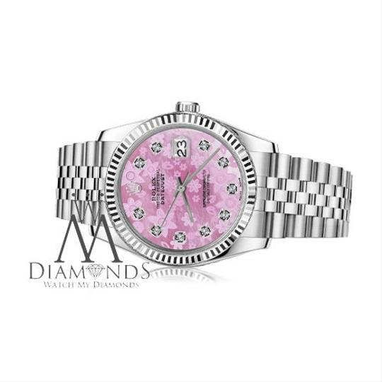 Rolex Women`s 26mm Datejust Pink Flower MOP Dial Diamod Watch