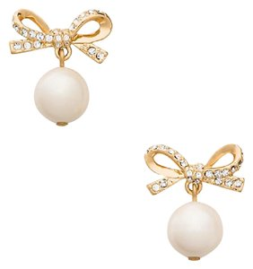 Kate Spade Bow Skinny Mini Pearl Drop Earrings