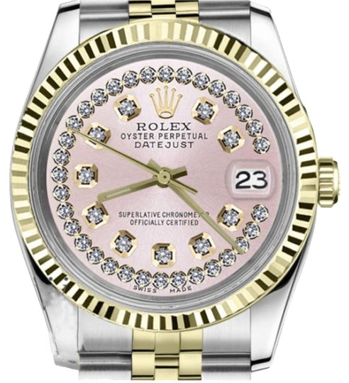 Preload https://img-static.tradesy.com/item/19113094/rolex-women-s-26mm-datejust2tone-pink-string-diamond-dial-with-vintage-style-watch-0-2-540-540.jpg