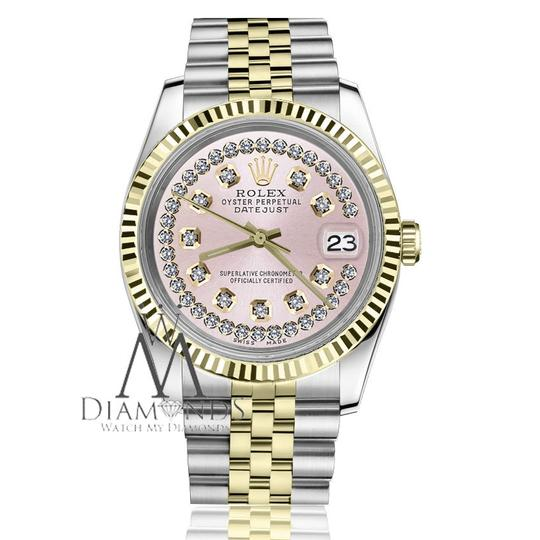 Rolex Women`s 26mm Datejust2Tone Pink String Diamond Dial with Vintage Style