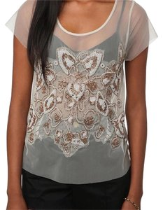 Kimchi Blue T Shirt Cream, white, gold, beige, sheer