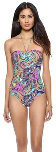 Shoshanna Cinch Neon Paisly One Piece Swimsuit