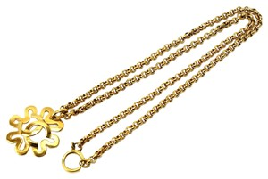 Chanel Chanel Gold CC Logo Flower Chain Link Necklace in Box