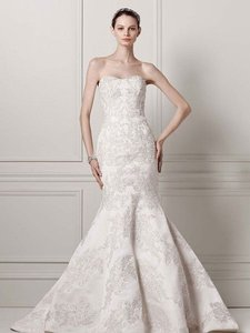Oleg Cassini Oleg Cassini Satin Lace Strapless Wedding Dress Wedding Dress