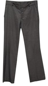 Zara Office Work Checked Flat Front Trouser Pants Grey