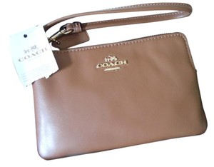 Coach Wallet Pouch Wristlet in saddle brown