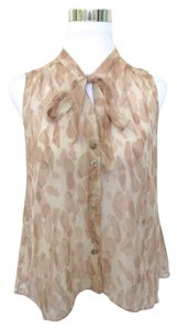 Elizabeth and James Animal Print Silk Top Pink