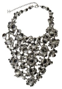 Chanel Chanel Black & Grey Glass/Rhinestone Bib Runway Necklace