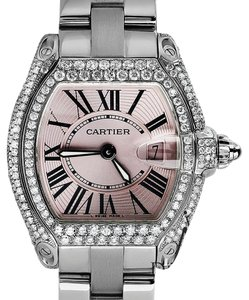 Cartier Roadster Small, Pink Dial - Stainless Steel on Bracelet with Diamonds
