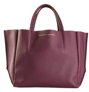 Ampersand as Apostrophe Leather Suede Classic Pebbled Oversized Tote in Purple Raspberry