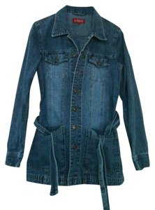 L.O.G.O./H&M Denim Jean -coat H&m Mid-thigh Denim Coat Fall Womens Jean Jacket