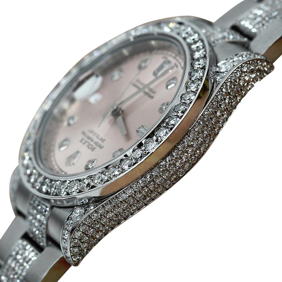 Rolex Watch Datejust Ii 116334 41mm Pink Dial Diamond Case Bezel Bracelet