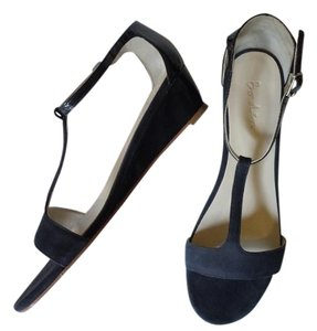 Boden T Bar Demi Suede Patent navy blue Wedges
