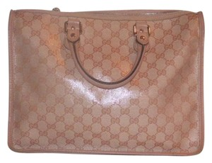 Gucci Doctor's Speedy/boston Print Rare Color Glossy Finish Satchel in pink large G logo coated canvas with pink leather