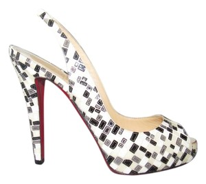 Christian Louboutin Evening Peep Toe Slingbacks Slings White Black Silver Pumps