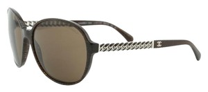 Chanel New CHANEL 5304 Marble Brown Metal Chain Sunglasses RETAIL $475