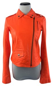 Theory Bright Biker Leather Neon Orange Leather Jacket