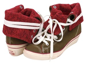 Converse Wedge Suede Foldover Casual Sneakers Brown and Red Athletic