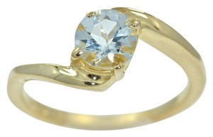 Elizabeth Jewelry 14Kt Yellow Gold Plated Genuine Aquamarine Round Ring