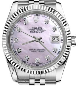Rolex Man`s 36mm Datejust Pink MOP Mother Of Pearl Dial with Diamond Watch