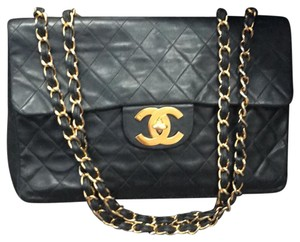 Chanel Vintage Lambskin Luxury Satchel in Black