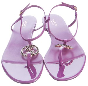 Gucci Gg Cyclamen Crystal Ankle Strap Purple, Silver Sandals