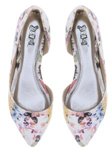 Brash D'orsay Floral Pointed Toe White Floral Flats