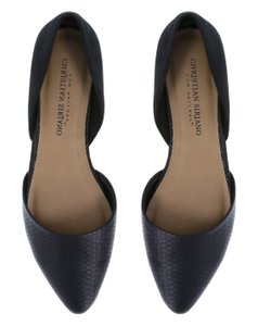 Christian Siriano Texture D'orsay Pointed Toe Black Flats