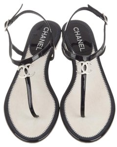Chanel Crystal Ankle Strap Black, Silver Sandals