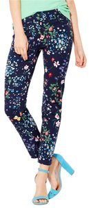 New York & Company Ankle Stretch Trouser Skinny Pants Navy Floral