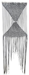 Bohemian Black Macrame Hanging Wall Tapestry Hand Made Size 62