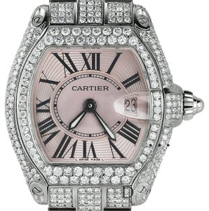 Cartier Pink Ladies Roadster W62016V3 Stainless Steel Watch With Diamonds