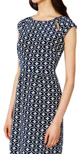 Moncollet Print Cap Sleeve Cut-out Silk Sheath Dress