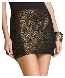 Express Stretch Mini Foil Mini Skirt Black and Gold