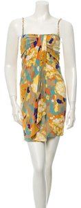 Diane von Furstenberg Strapless Silk Colorful Cocktail Dress