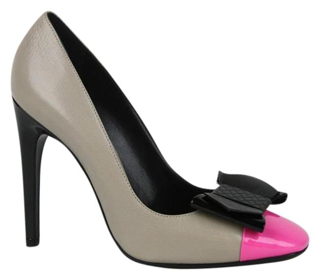 Item - Multi-color W New Leather Bow W/Pink Toe It / 8 352588 9796 Pumps Size EU 38 (Approx. US 8) Wide (C, D)