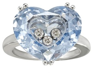 Chopard Chopard 18ct White Gold Blue Topaz and Diamond Ring Size 5.75