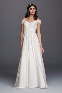 Galina New! Tulle A-line Wedding Dress With Swag Sleeves Wg3779 Wedding Dress
