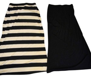 Ambiance Apparel Maxi Skirt Black & Tan Striped