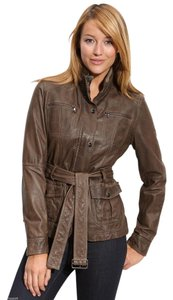 Kenneth Cole Dark Taupe Leather Jacket