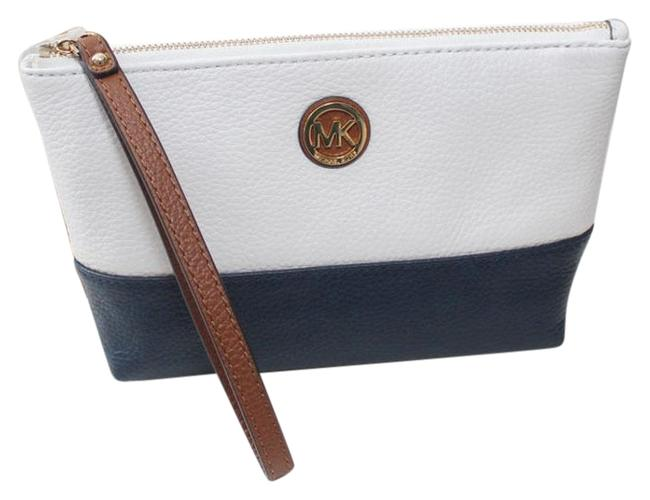 Item - Navy/White/Luggage Fulton Clutch New Travel Leather Navy/White Cosmetic Bag