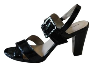 Antonio Melani Leather Patent Leather Black Sandals