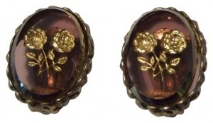Vintage brown stone with gold rose etching