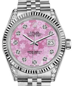 Rolex Men's Rolex 36mm Datejust Pink Flower MOP Dial with DiamondWatch