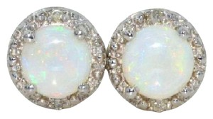 Elizabeth Jewelry Genuine Opal & Diamond Round Stud Earrings .925 Sterling Silver